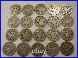 Lot Of 20 1893-1915 P-d-s Us Barber Half Dollars About Good-very Good+ Most Gd+
