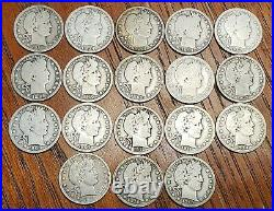 Lot of 18 different Barber Quarters Good G to Very Good VG
