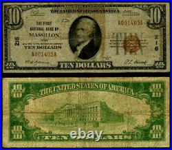 Massillon OH $10 1929 T-1 National Bank Note Ch #216 First NB Very Good