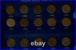 Partial Very Good Indian Head Cent set. 1857 to 1909. 47 Coins total