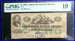 T-43 1862 $2 Two Dollars Csa Confederate States Pmg 10 Very Good Nice! Bright